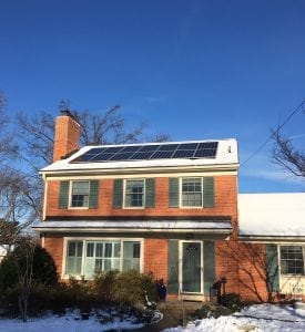 Cute home with solar panels in the snow