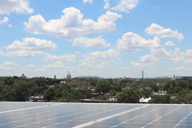 Solar panels with view on the U.S. Capital Building
