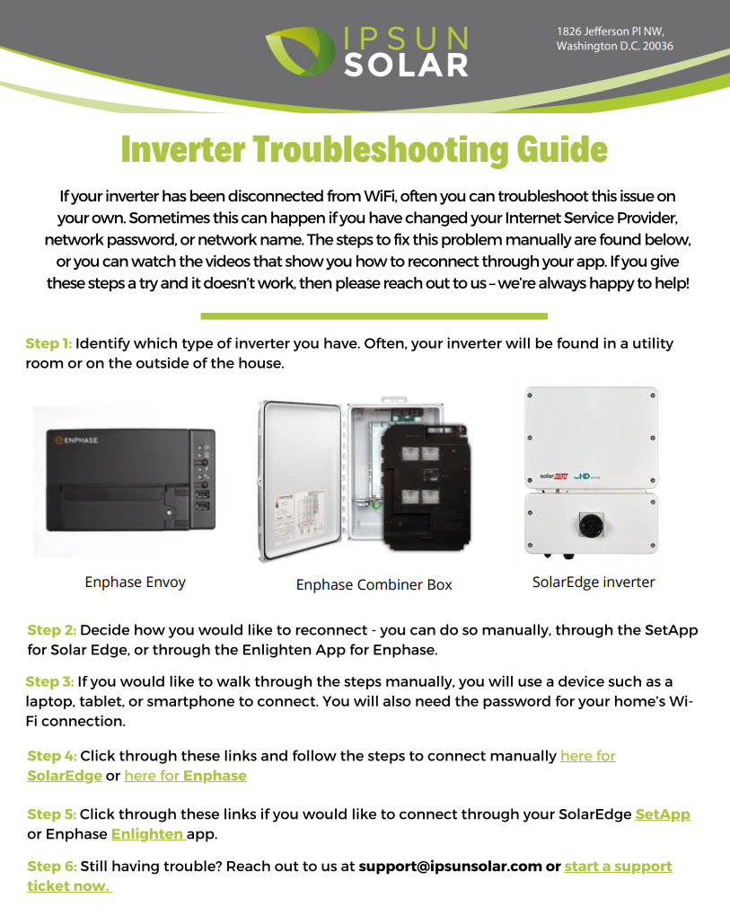 Solar panel troubleshooting guide enphase SolarEdge connectivity issue