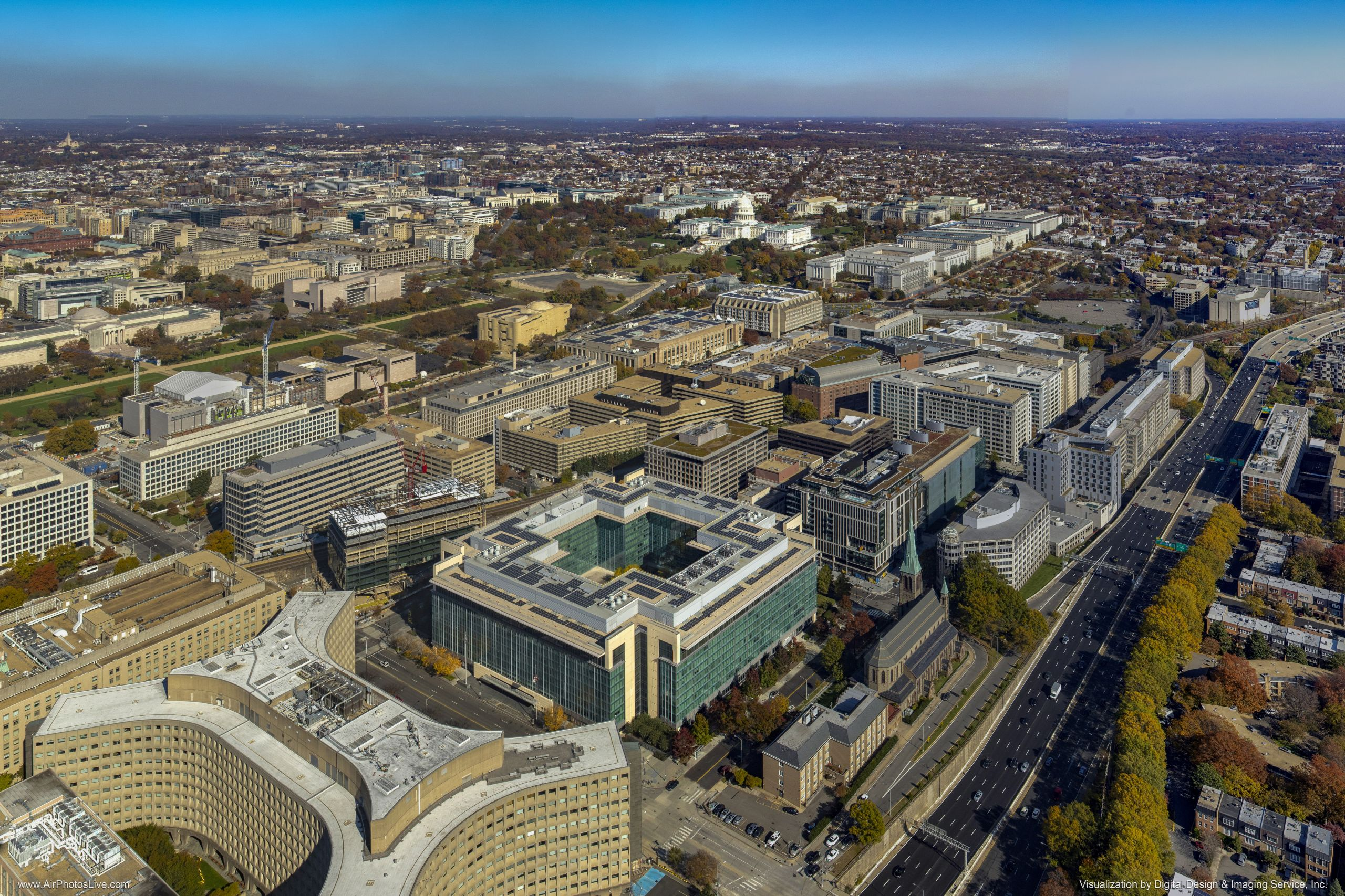Drone image of 9th largest solar energy system in DC - high res
